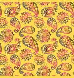 mehendy golden flower seamless pattern design vector image vector image