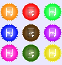 mov file format icon sign Big set of colorful vector image
