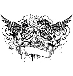 roses wings vector image vector image