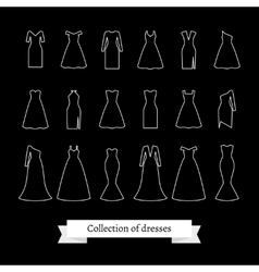 Dresses line icons vector image