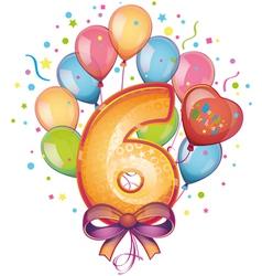 Happy birthday six vector image