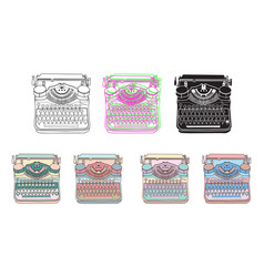 set of 7 vintage typewriters vector image