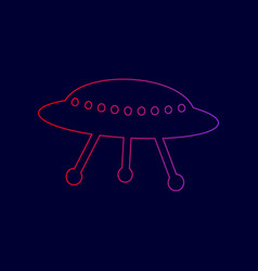 ufo simple sign line icon with gradient vector image