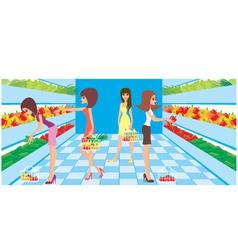 women in a supermarket vector image