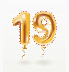 19 years golden aluminum foil balloon anniversary vector image
