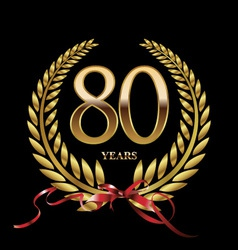 80 years anniversary laurel wreath vector image