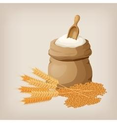 A bag of flour and shovel wheat ears of wheat vector