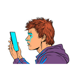 A teenage guy and smartphone internet and apps vector