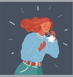 A woman cough with cold on dark vector