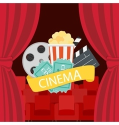 Abstract Cinema Flat Background with Reel Old vector image