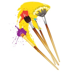 Artist brushes with paint3 vector