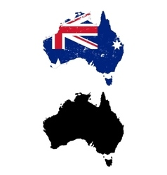 Australia country black silhouette and with flag vector
