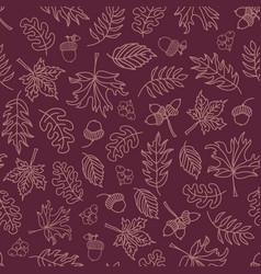 autumn leaves seamless background purple vector image