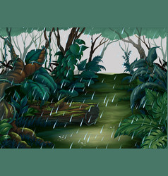Background scene with forest in the rain vector