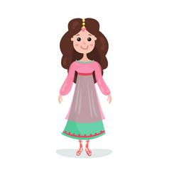 beautiful brunette cartoon princess girl character vector image