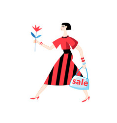 beautiful girl with purchases from shops vector image
