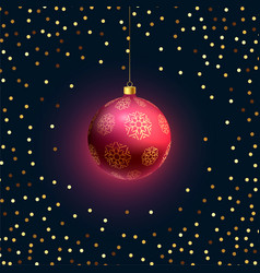 beautiful hanging christmas 3d ball with golden vector image