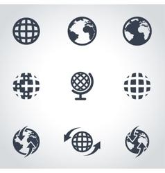 Black world map icon set vector