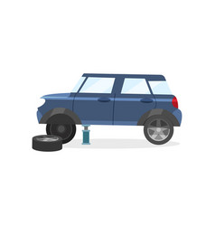 blue car standing on jack without one wheel vector image
