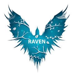 cartoon paper landscape crow raven vector image