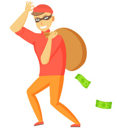 cartoon thief carrying big money bag man walking vector image