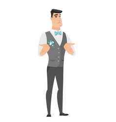 Caucasian confused groom shrugging shoulders vector