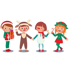 Children celebrating Christmas in Christmas Costum vector image