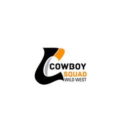 Cowboy squad letter c icon vector