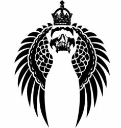 crowned skull on wings vector image