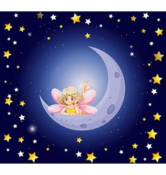 Cute fairy and the moon in the sky vector