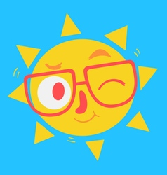 Cute Geek Sun Winking vector