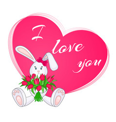 cute little bunny with bouquet tulips vector image