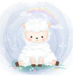 Cute little lamb vector