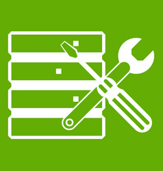 database with screwdriverl and spanner icon green vector image