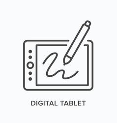 digital tablet flat line icon outline vector image
