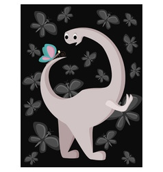 Dinosaur surprised looking on butterfly vector