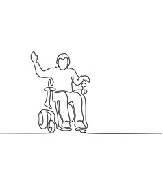 Disabled man on electric wheelchair vector
