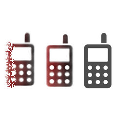 dissolving pixelated halftone cell phone icon vector image