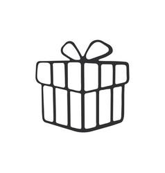 Doodle present box vector