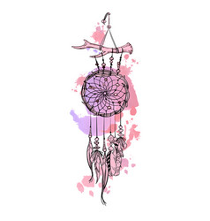 Dreamcatcher and feather with watercolor strokes vector