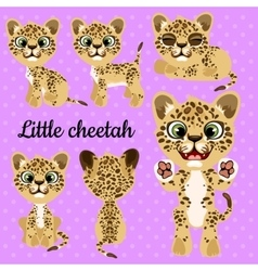 Emotions little leopard on a pink background vector