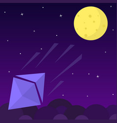 Ethereum chrystal rocket falls dawn from the moon vector