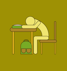 Flat icon with thin lines student sleeping at desk vector