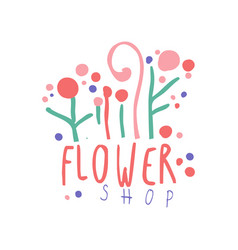 flower shop logo colorful badge for floral shop vector image