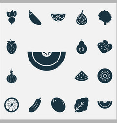 Food icons set with spinach root gherkin and vector