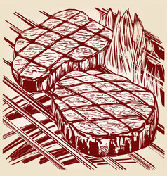 Food meat steak roast grilled hand drawn vector