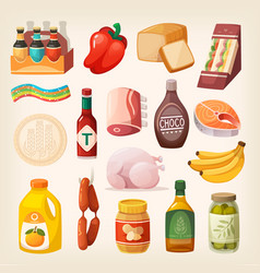 food products icons vector image