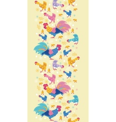 Fun chickens vertical seamless pattern background vector image