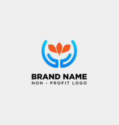 Hand flower care logo template icon element vector