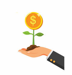 hand holding plant with coin investment profit sy vector image
